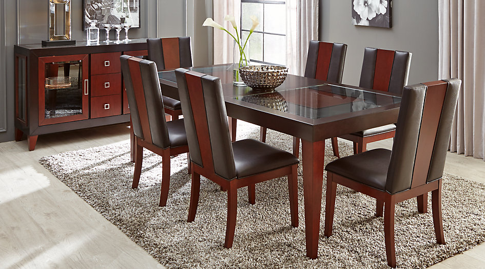 dining tables sofia vergara savona chocolate 5 pc rectangle dining room CZLIEXJ