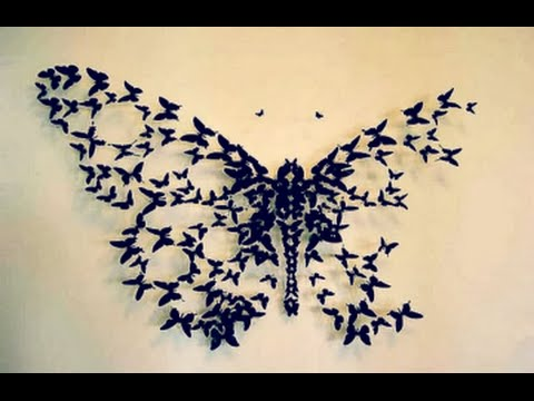 diy butterfly wall decor | wall decor idea | how to cut paper TZICWNJ