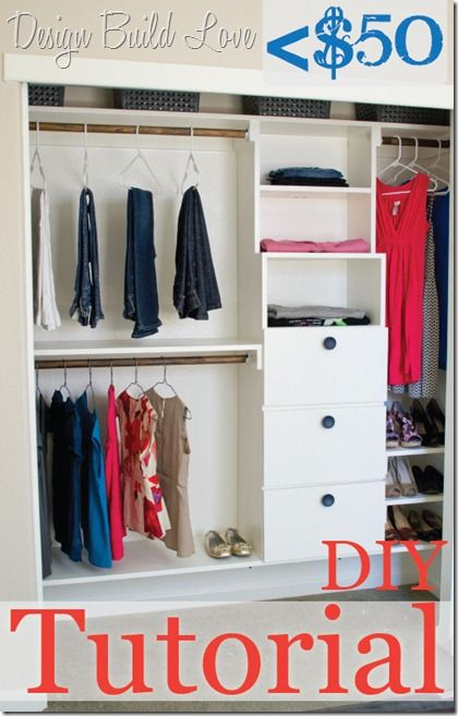 diy closet 50 bucks-custom-diy-closet-kit-tutorial :: looks like a great idea but  feels a bit WNOAKTZ