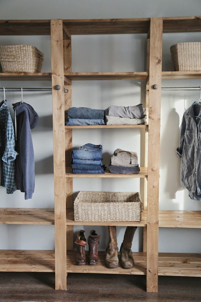 diy closet ana white build a industrial style wood slat closet system with galvanized OLLAYIA