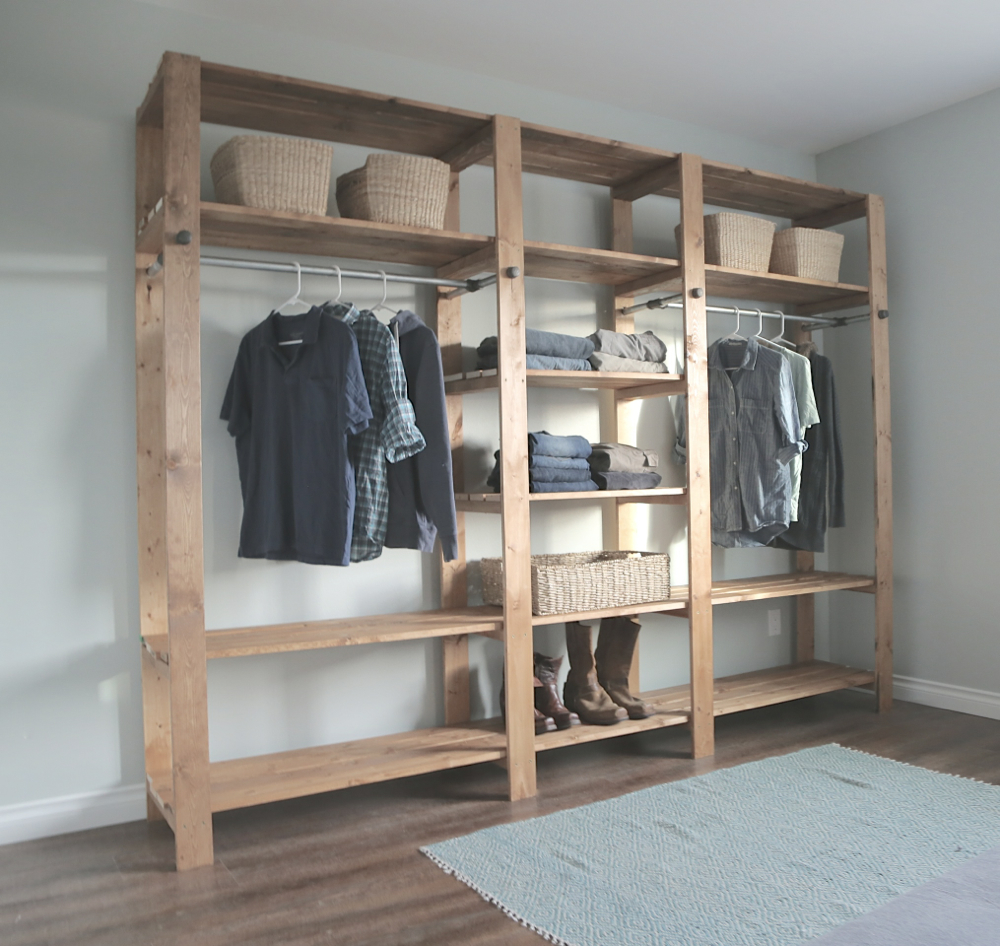 diy closet industrial style wood slat closet system with galvanized pipes HOTMJES