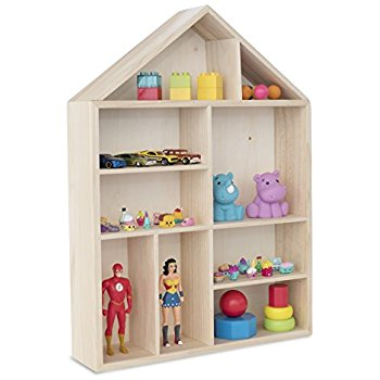 dollhouse bookcase wallniture house shape wooden shadow cubby box storage natural OYZTJJM