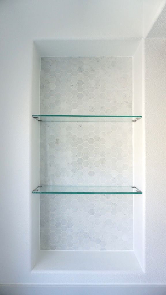 eggshell home - master bathroom custom glass shelves marble tile niche FOPYLVN