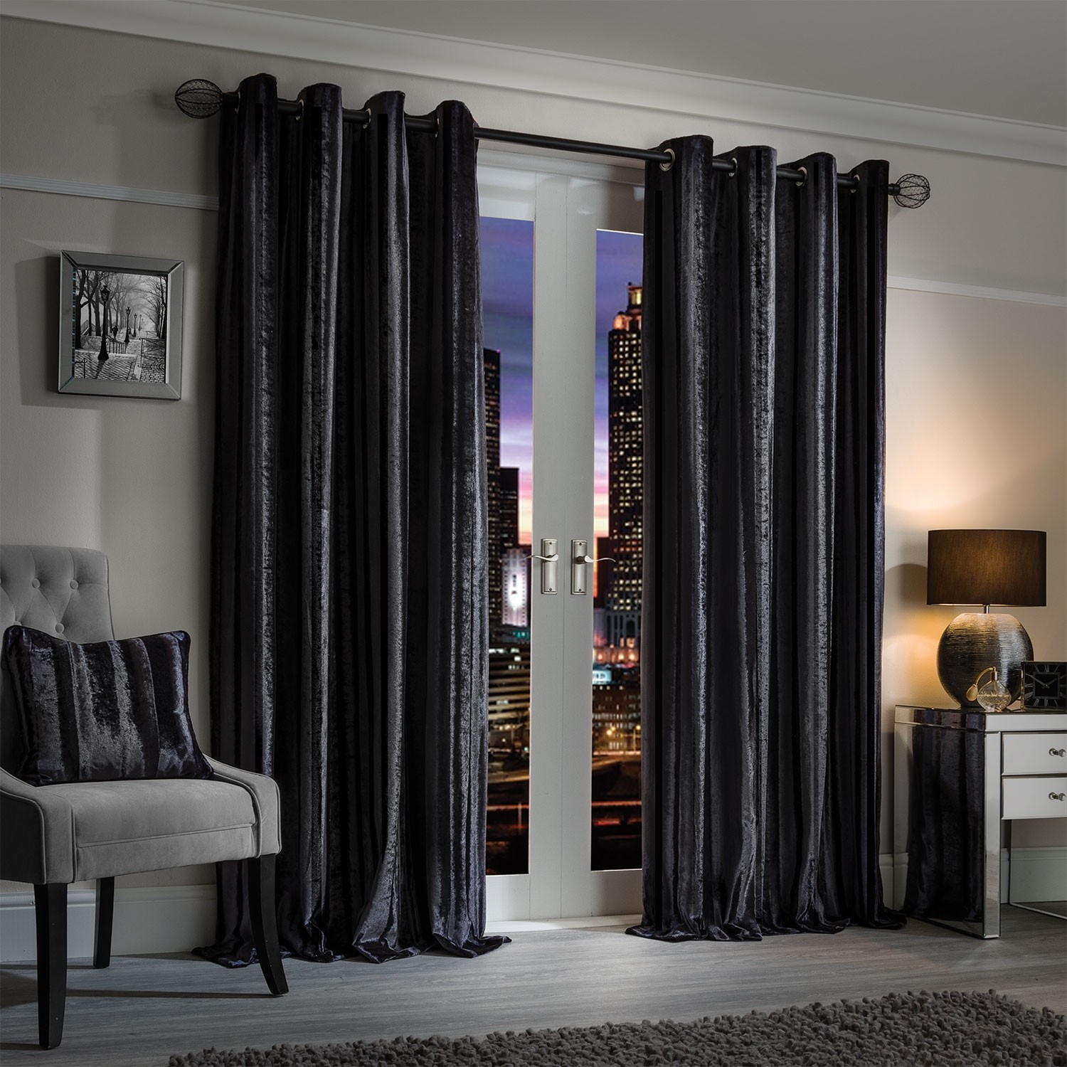 elegance charm charcoal luxury striped velvet curtains (pair) ZSQNOSI