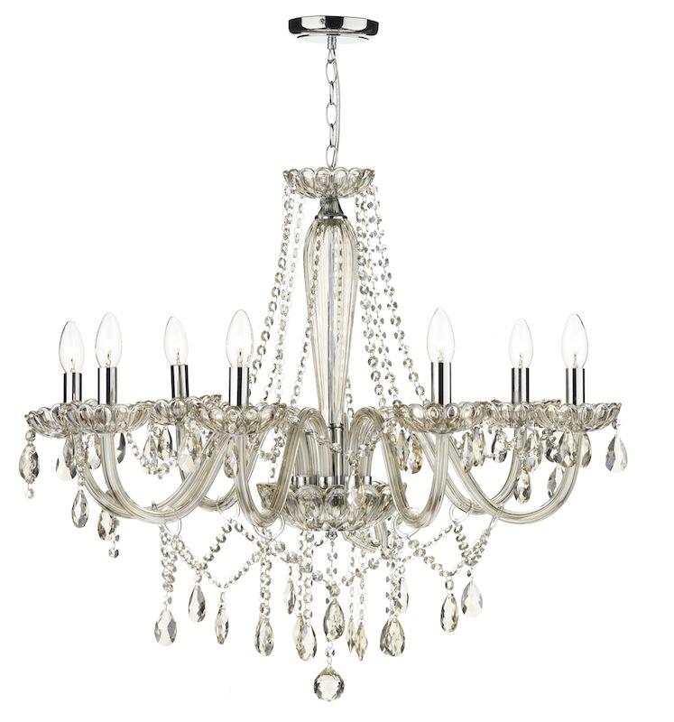evangelina 8 arm champagne glass chandelier NZEAUDS