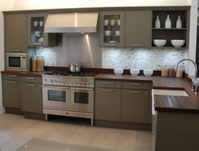 ex display kitchens contemporary country style beige grey vertical grooved panel kitchen with  range cooker, HCLJGIA