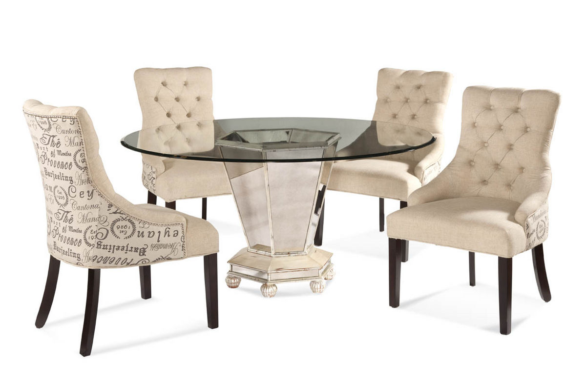 fabric dining chairs reflections dining set with script fabric chairs (antique silver u0026 mirror  finish) WPZRMIG