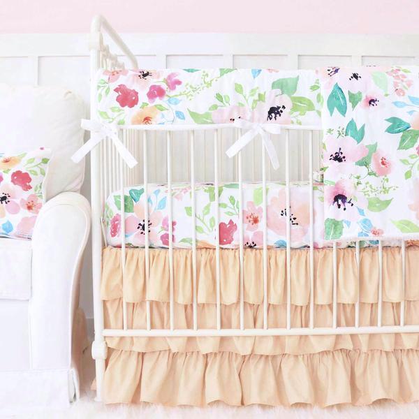 fairy tale floral peach ruffle baby girl bedding YWFOBGX