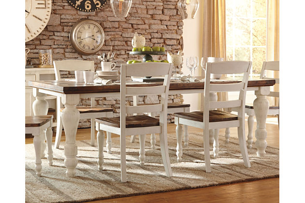 farmhouse dining room table two-tone marsilona dining room table view 1 UYGGZGO