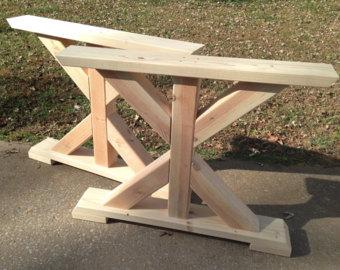 farmhouse trestle table legs, x-frame table legs, wood table legs, wide KVIWWIF