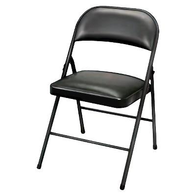 folding chairs folding chair vinyl padded black - plastic dev group® KCPFZVY