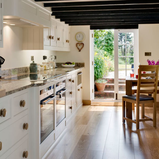french farmhouse style galley kitchen FODLYGD