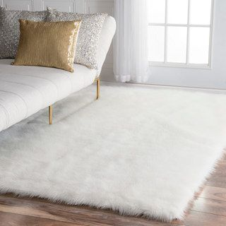 fur rugs shop for nuloom faux flokati sheepskin solid soft and plush cloud white XHAZNDW
