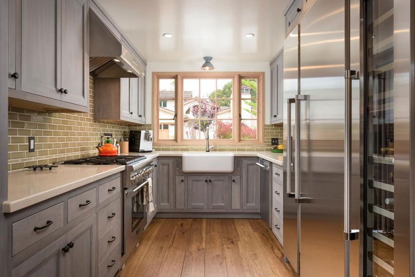 galley kitchen with gray cabinets, quartz countertop and engineered oak  floors BLRYSMW