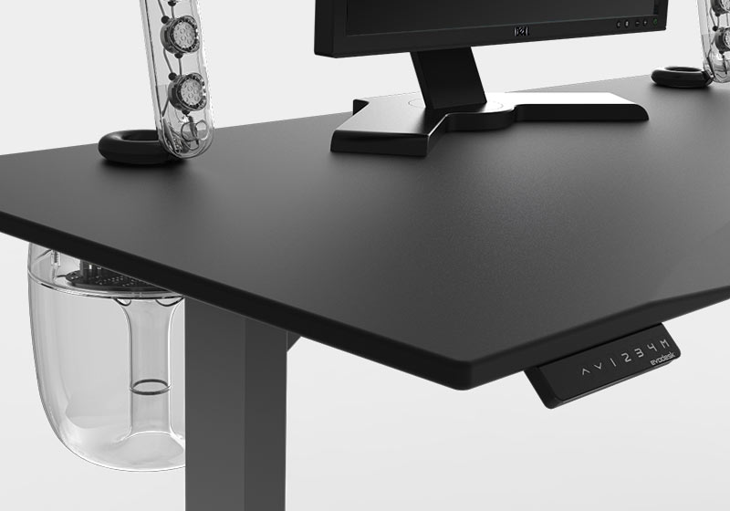 gaming computer desk evodesk black sound system with programmable remote GBEZWBZ