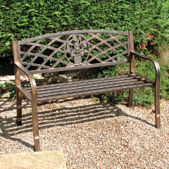 garden benches greenhurst coalbrookdale 2 seater bench - dark copper DFFPUEL