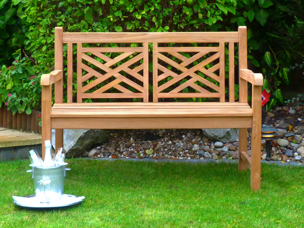 garden benches oxford cross weave back teak bench 120cm teak bench cross weave back OLSRHIT