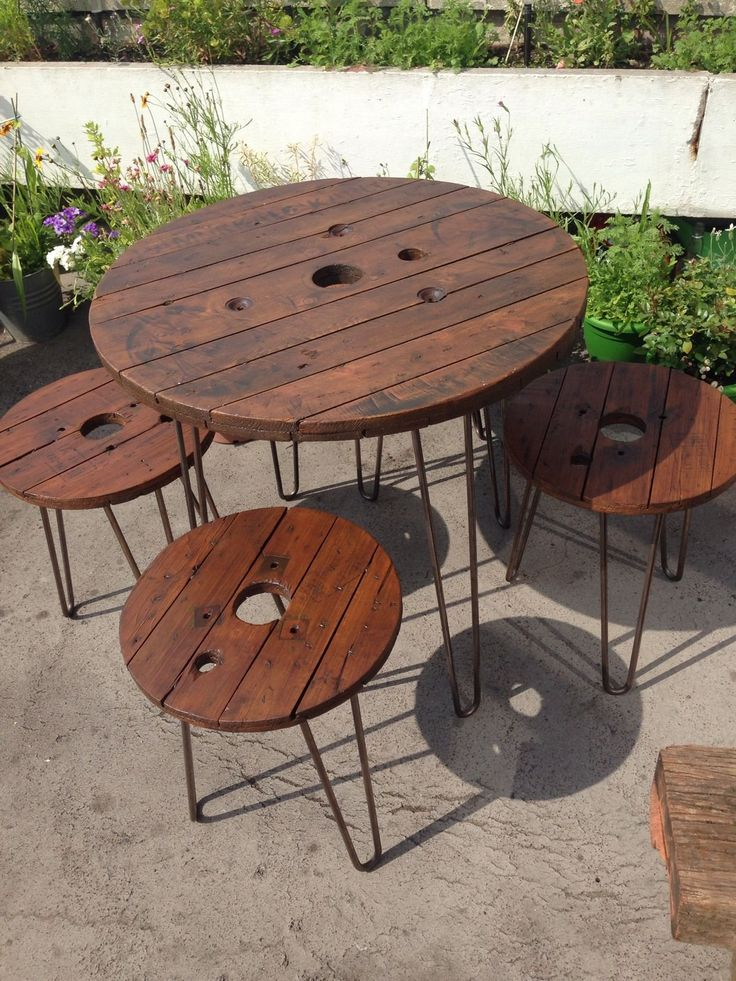 garden table wooden garden furniture set table and stools upcycled cable reel drums BPYXGNF