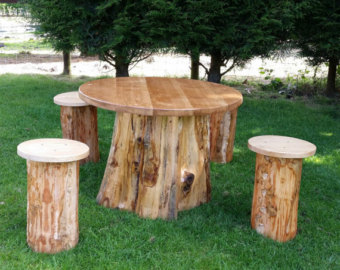 garden table woodland- hand crafted garden furniture set FKZVWOK