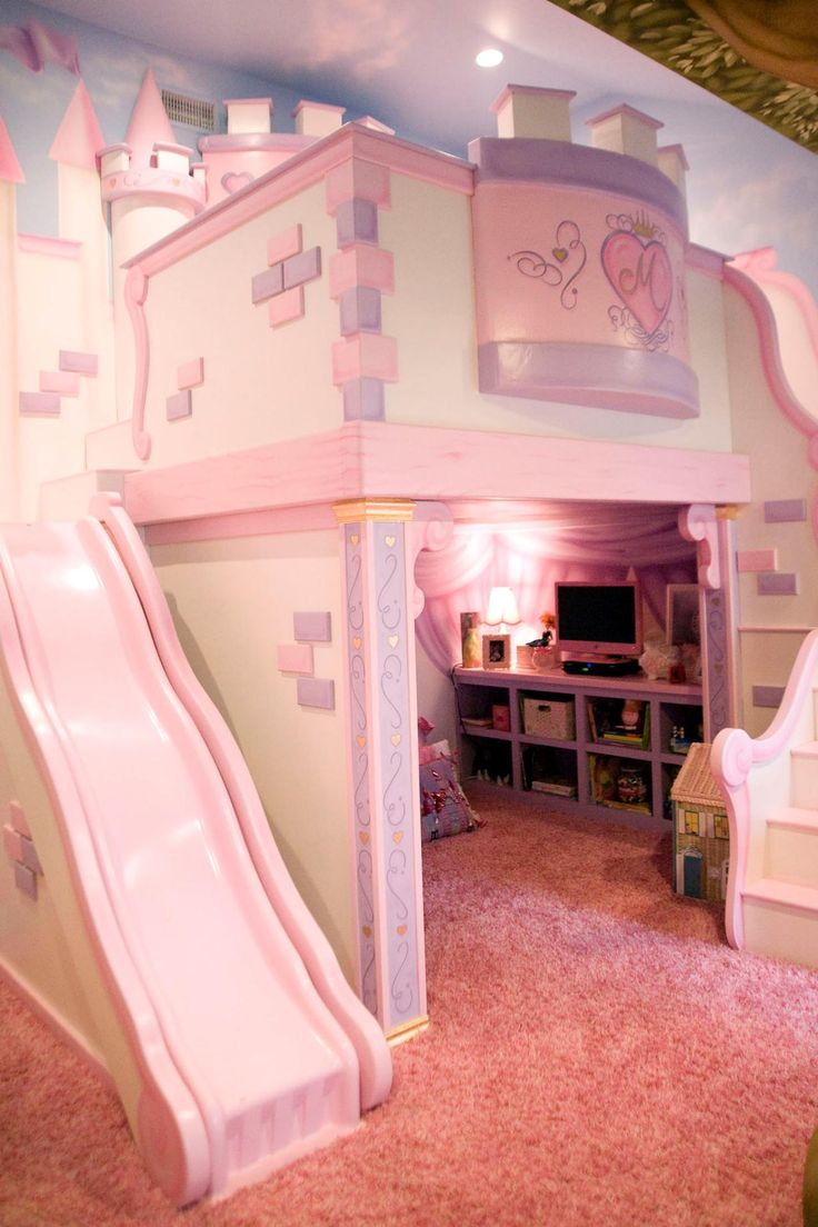 girlu0027s room with custom princess castle bed this playful pink bedroom is RPZFQDR