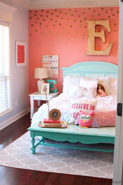 girls bedrooms tattered and inked: coral u0026 aqua girlu0027s room makeover UYSDQEL