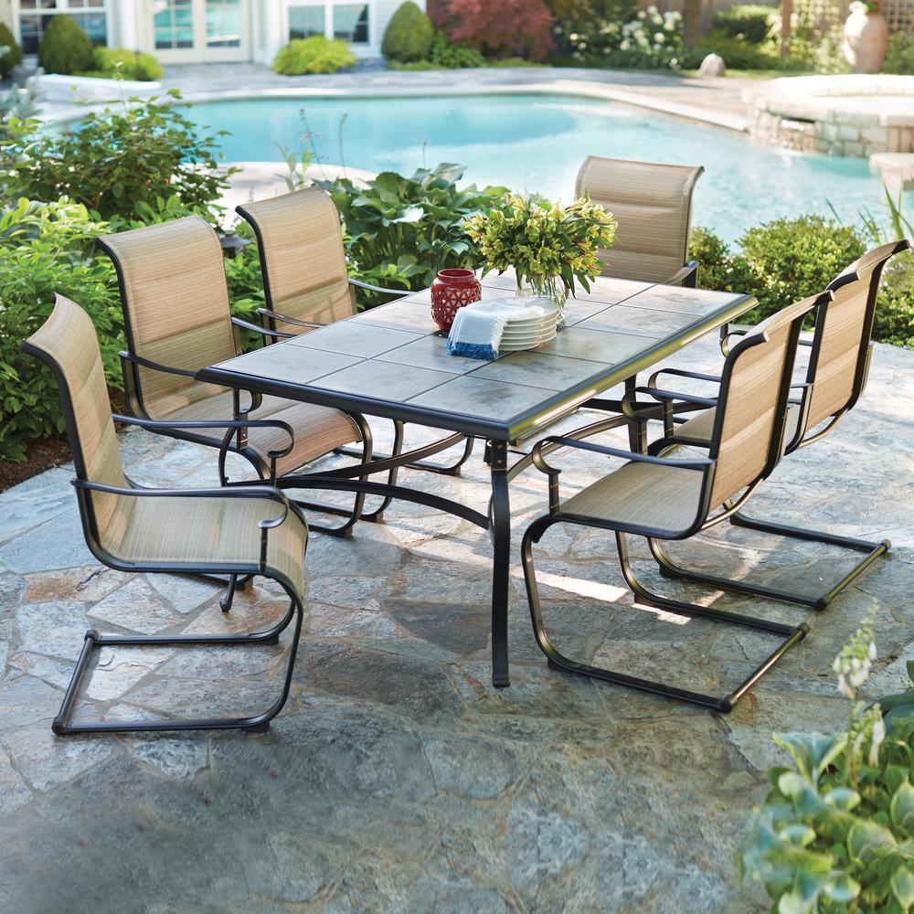 hampton bay belleville 7-piece padded sling outdoor dining set-fcs80198cst  - the home XRIIYWJ