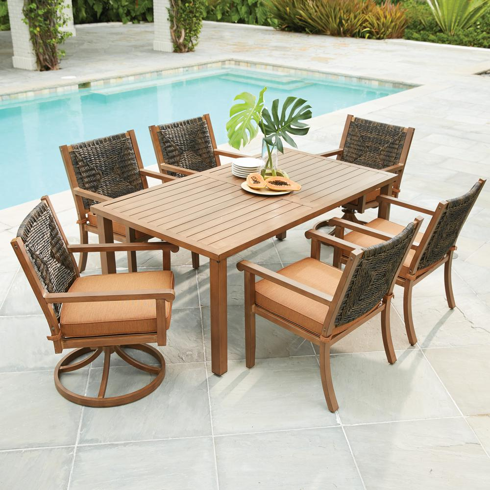 hampton bay kapolei 7-piece wicker outdoor dining set with reddish brown  cushion ZDLONIC