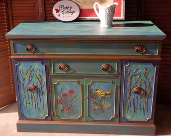 hand painted furniture credenza artisan hand painted finish parade of color vintage sideboard  poppy cottage PAUFRXA