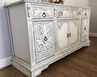 hand painted furniture painted buffet, antique buffet, white buffet, gray buffet, antique console,  antique LHCXZND
