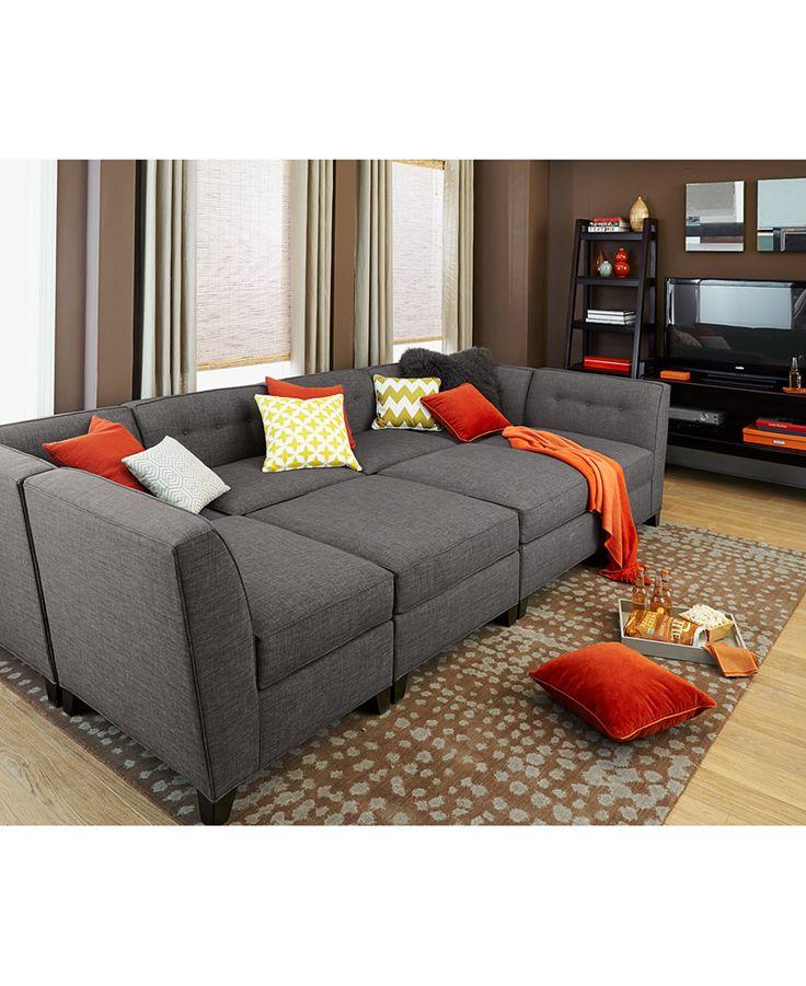 harper fabric 6 piece modular sectional sofa with chaise u0026 ottoman - custom XNHNQCL