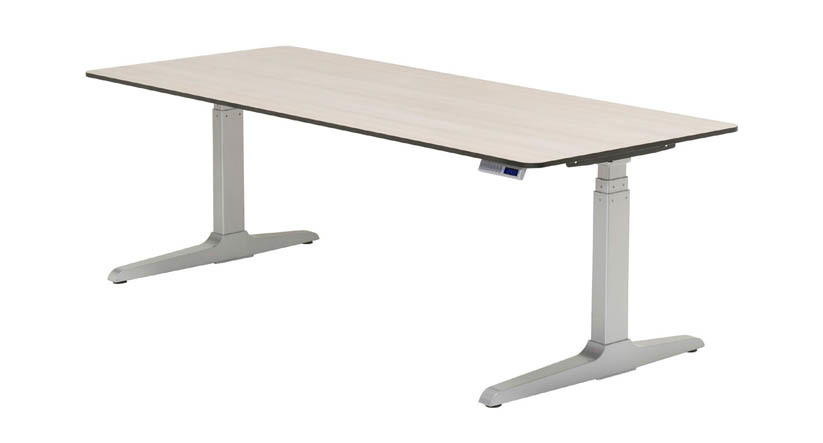 height adjustable desk features a hidden crossbar, giving you more legroom while providing  stability · VIHLMXY