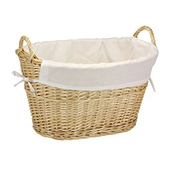 household essentials ml-5569 willow wicker laundry basket with handles and  liner | DCCYLTM