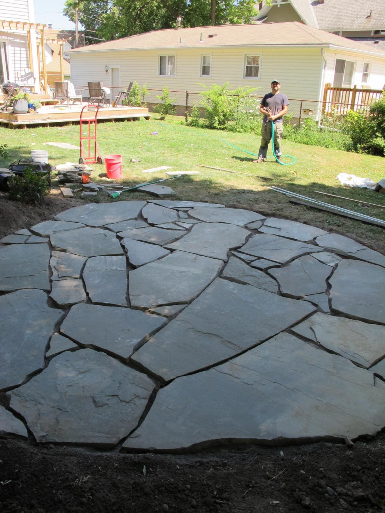 how to install a flagstone patio with irregular stones | diy network blog: STALZHF