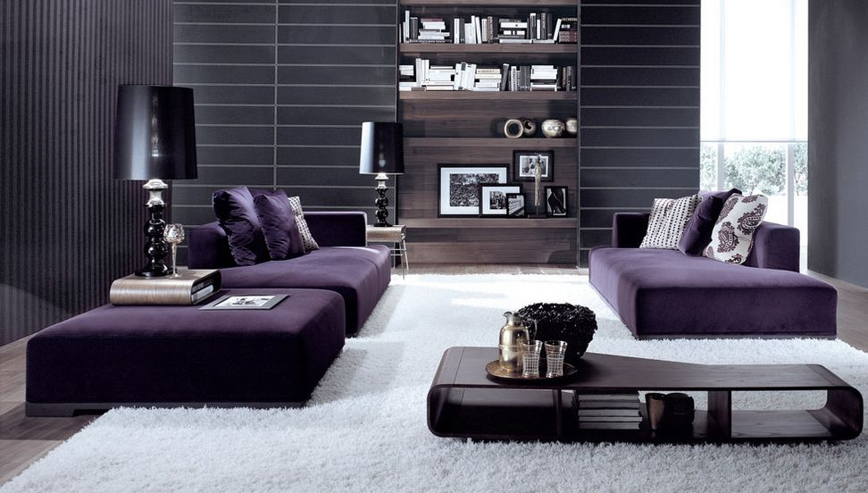 how to match a purple sofa to your living room décor RCFGHYZ