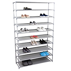 image of home basics® 10-tier plastic and fabric wide shoe rack in grey IYLTZHJ