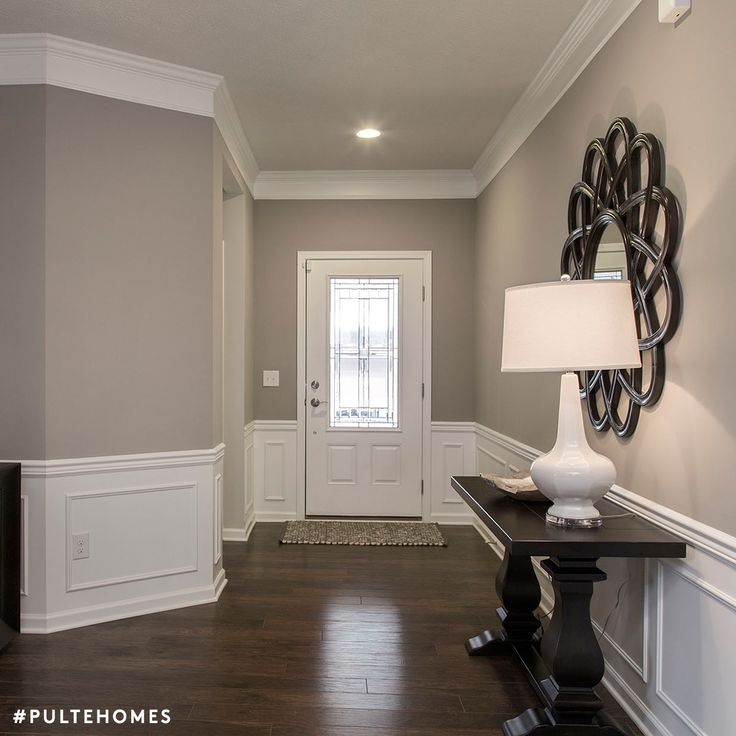 interior paint colors wall color is sherwin williams mindful gray. crown molding and wainscott KKWFPZJ