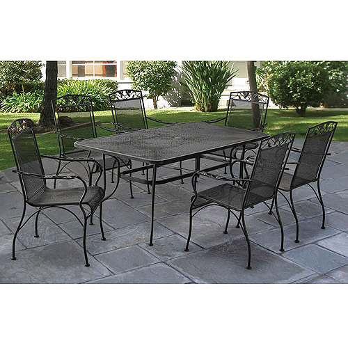 iron patio furniture mainstays jefferson wrought iron 7-piece patio dining set, seats 6 LJYPSXR