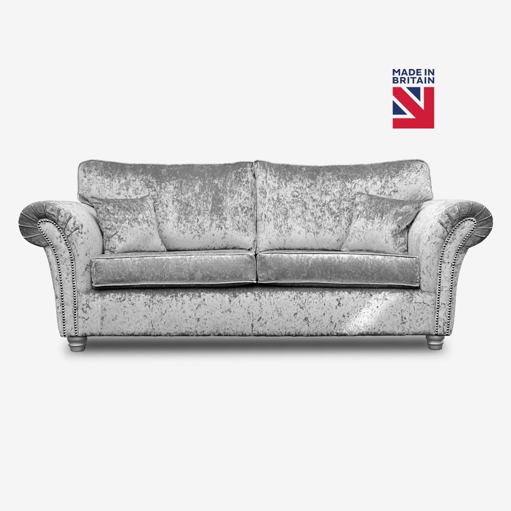kassel 3 seater silver crushed velvet sofa MVVCGLS