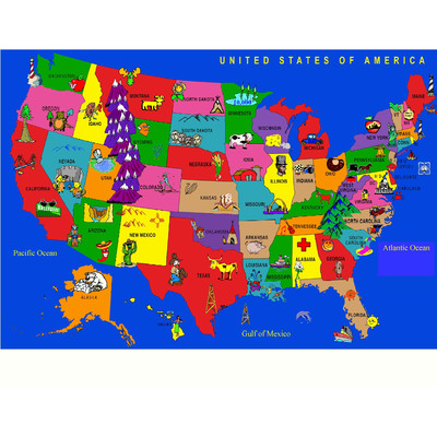kids area rugs kids world fun learning usa cartoon map area rug u0026 reviews | wayfair LNXIGDY