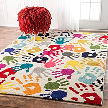 kids area rugs nuloom handprint collage kids nursery area rugs, 8u0027 x 10u0027, multicolor EQBDVYW