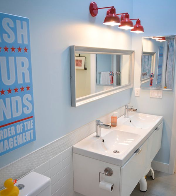 kids bathroom ideas view in gallery sleek modern kidsu0027 bathroom with interesting lighting choice EJHKQVK