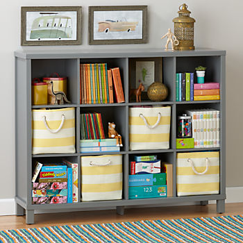 kids bookshelf cubic tall bookcase (grey, 12-cube) IWBFVCH