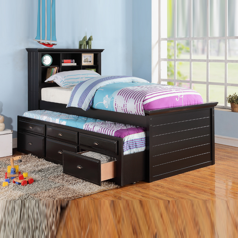 kids trundle beds poundex new stylish cottage youth kids black wood twin trundle bed with HPSKBAX
