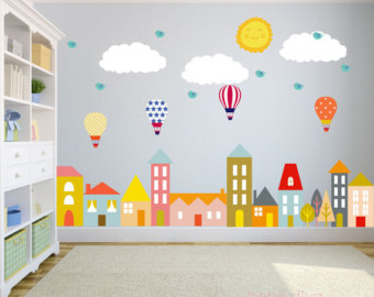 kids wall decals city wall decals, nursery wall decal, wall decals nursery, baby wall decal, HJXFVUJ