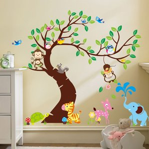 kids wall decals curved tree with forest friends and monkeys wall decal WGRHASU