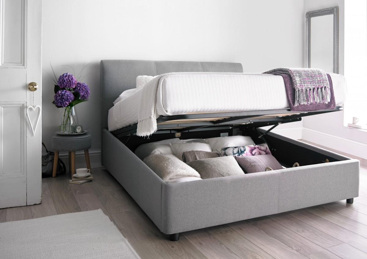 king size bed serenity upholstered ottoman storage bed - cool grey ... CSCAMYT