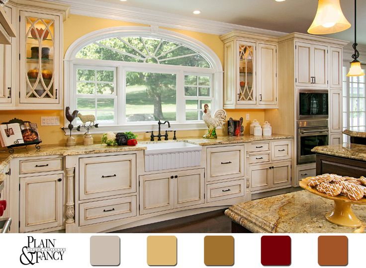 kitchen color schemes this cottage kitchen has a lovely country color scheme #yellow #kitchen  #colorpalette EPLDAZH