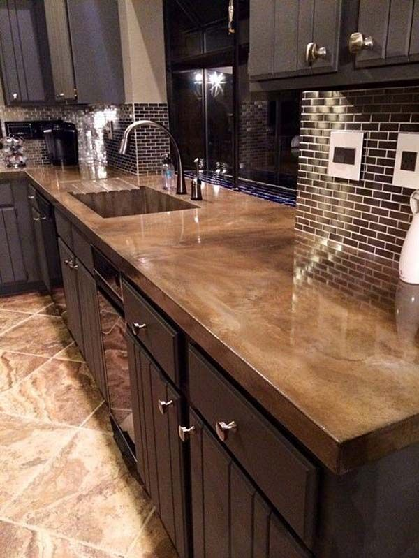 kitchen counter tops 40 amazing and stylish kitchens with concrete countertops ARAXJZM