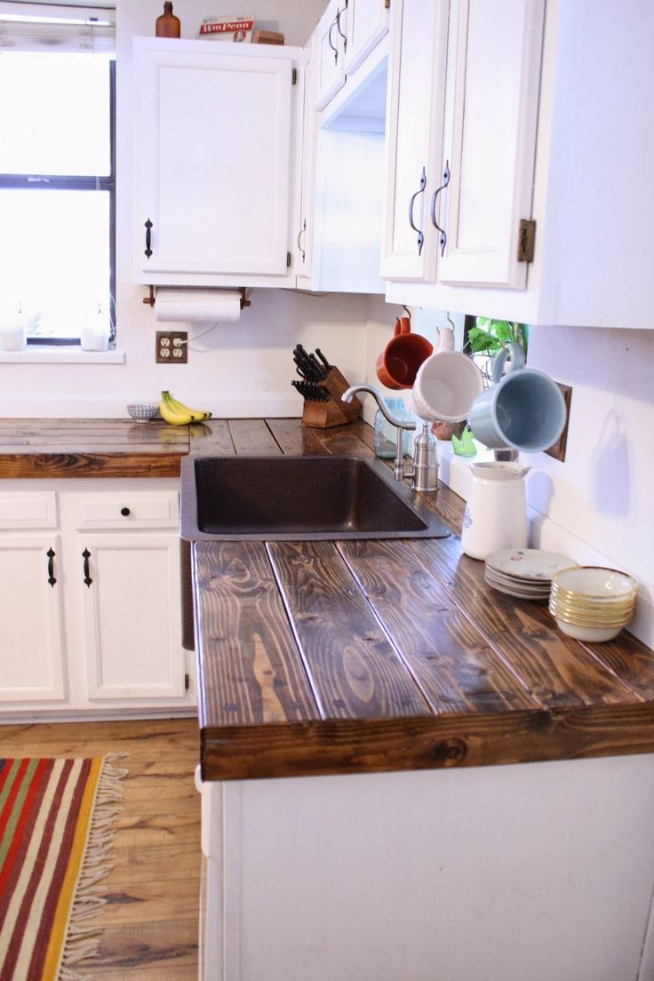 kitchen counter tops ***cheap countertop idea cover formica with boards, screw them in place,  then JOPCBTZ