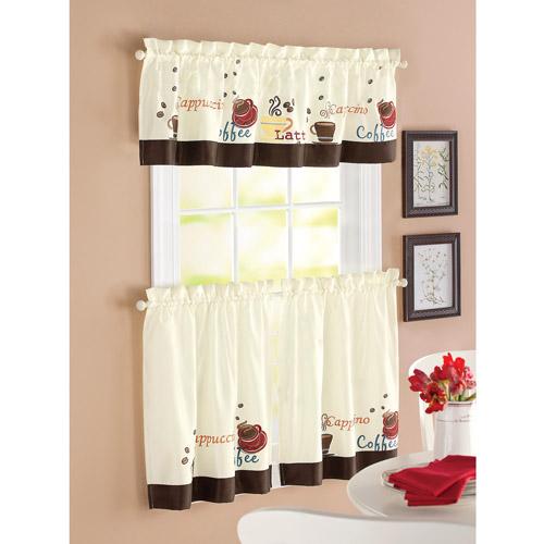 kitchen curtain better homes and garden coffee window kitchen curtains, set of 2 BKYEFCO